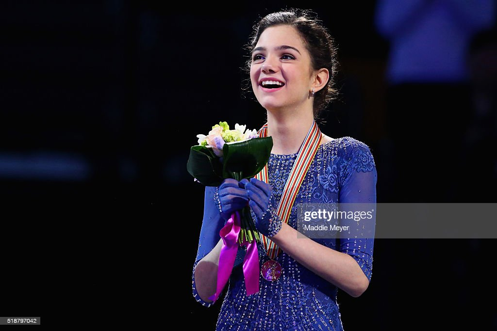 Evgenia Medvedeva of Russia celebrates after winning the gold medal following her performance in the Ladies Free Skate program on Day 6 of the ISU World Figure Skating Championships 2016 at TD Garden on April 2, 2016 in Boston, Massachusetts.