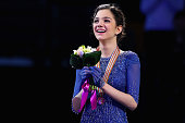 Evgenia Medvedeva of Russia celebrates after winning the gold medal following her performance in the Ladies Free Skate program on Day 6 of the ISU...