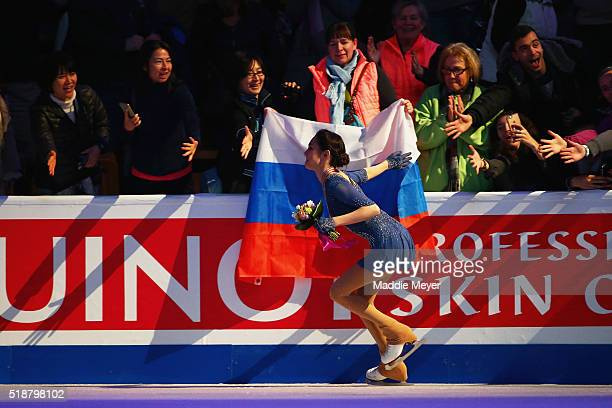 Evgenia Medvedeva of Russia celebrates with fans after winning the gold medal after her performance in the Ladies Free Skate program on Day 6 of the...