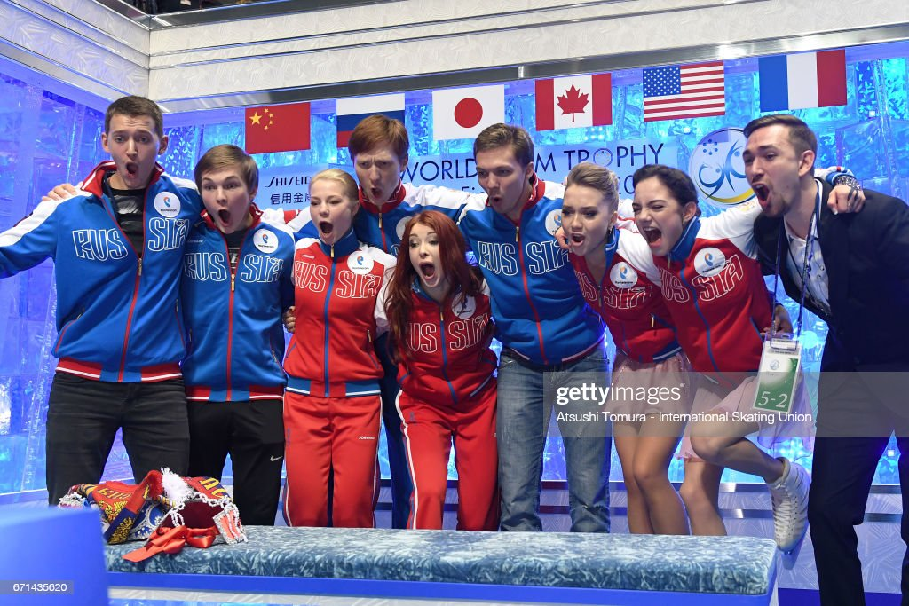 Evgenia Medvedeva of Russia celebrates with her team mates at kiss and cry after the Ladies free skating during the 3rd day of the ISU World Team Trophy 2017on April 22, 2017 in Tokyo, Japan.