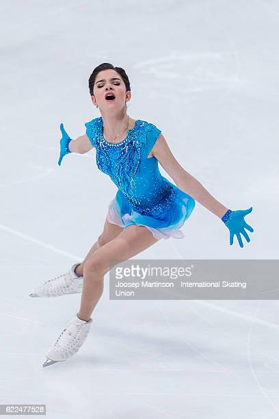 Evgenia Medvedeva of Russia competes during Ladies Short Program on day one of the Trophee de France ISU Grand Prix of Figure Skating at Accorhotels...