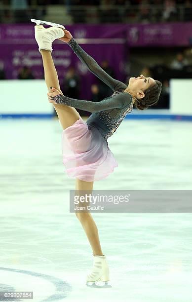 Evgenia Medvedeva of Russia competes during Senior Ladies Free Program on day three of the ISU Grand Prix of Figure Skating 2016 at Palais Omnisports...