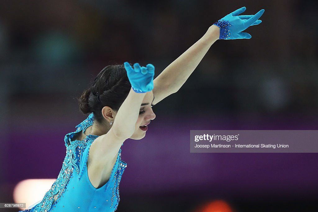 Evgenia Medvedeva of Russia competes during Senior Ladies Short Program on day two of the ISU Junior and Senior Grand Prix of Figure Skating Final at Palais Omnisports on December 9, 2016 in Marseille, France.