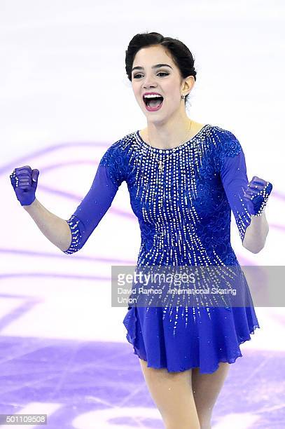 Evgenia Medvedeva of Russia during the Ladies Free program during day three of the ISU Grand Prix of Figure Skating Final 2015/2016 at the Barcelona...