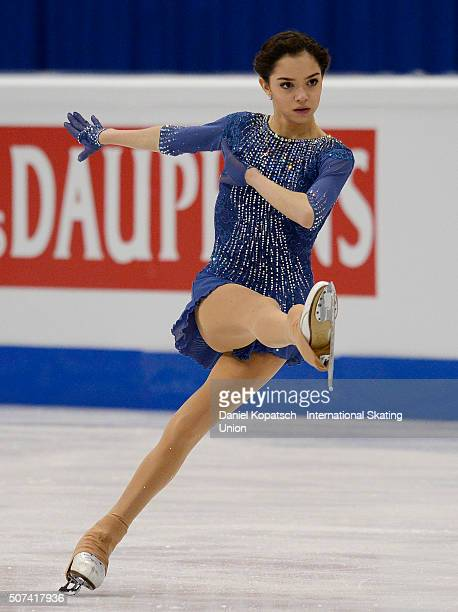 Evgenia Medvedeva of Russia performs during the Ladies Free Skating during day three of the ISU European Figure Skating Championships 2016 on January...