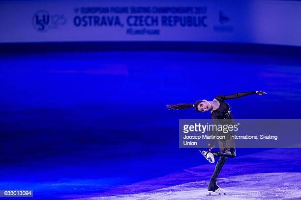 Evgenia Medvedeva of Russia performs in the gala exhibition during day 5 of the European Figure Skating Championships at Ostravar Arena on January 29...