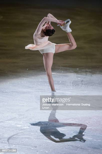 Evgenia Medvedeva of Russia performs in the gala exhibition during day five of the World Figure Skating Championships at Hartwall Arena on April 2...
