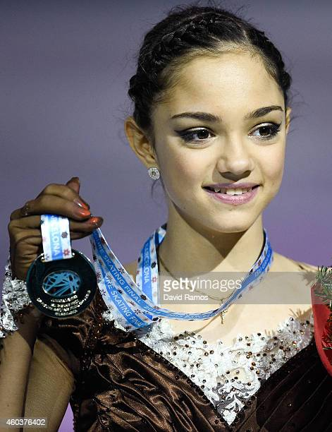 Evgenia Medvedeva of Russia poses during the medals ceremony during day two of the ISU Grand Prix of Figure Skating Final 2014/2015 at Barcelona...