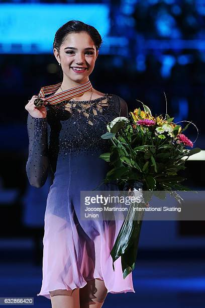 Evgenia Medvedeva of Russia poses in the Ladies medal ceremony during day 3 of the European Figure Skating Championships at Ostravar Arena on January...