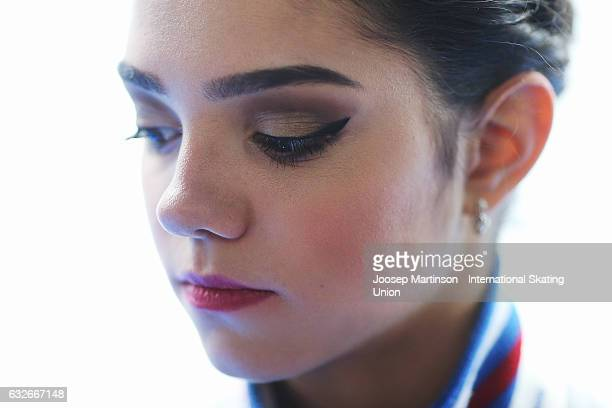 Evgenia Medvedeva of Russia speaks to the media after the Ladies Short Program during day 1 of the European Figure Skating Championships at Ostravar...