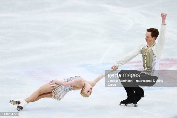 Evgenia Tarasova and Vladimir Morozov of Russia compete in the Pairs Short Program during day one of the World Figure Skating Championships at...