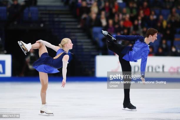 Evgenia Tarasova and Vladimir Morozov of Russia compete in the Pairs Free Skating during day two of the World Figure Skating Championships at...