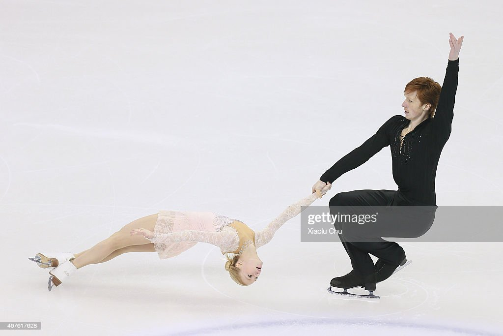Evgenia Tarasova and <a gi-track='captionPersonalityLinkClicked' href=/galleries/search?phrase=Vladimir+Morozov&family=editorial&specificpeople=6614710 ng-click='$event.stopPropagation()'>Vladimir Morozov</a> of Russia perform during the Pairs Free Skating on day two of the 2015 ISU World Figure Skating Championships at Shanghai Oriental Sports Center on March 26, 2015 in Shanghai, China.