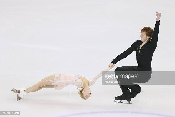 Evgenia Tarasova and Vladimir Morozov of Russia perform during the Pairs Free Skating on day two of the 2015 ISU World Figure Skating Championships...