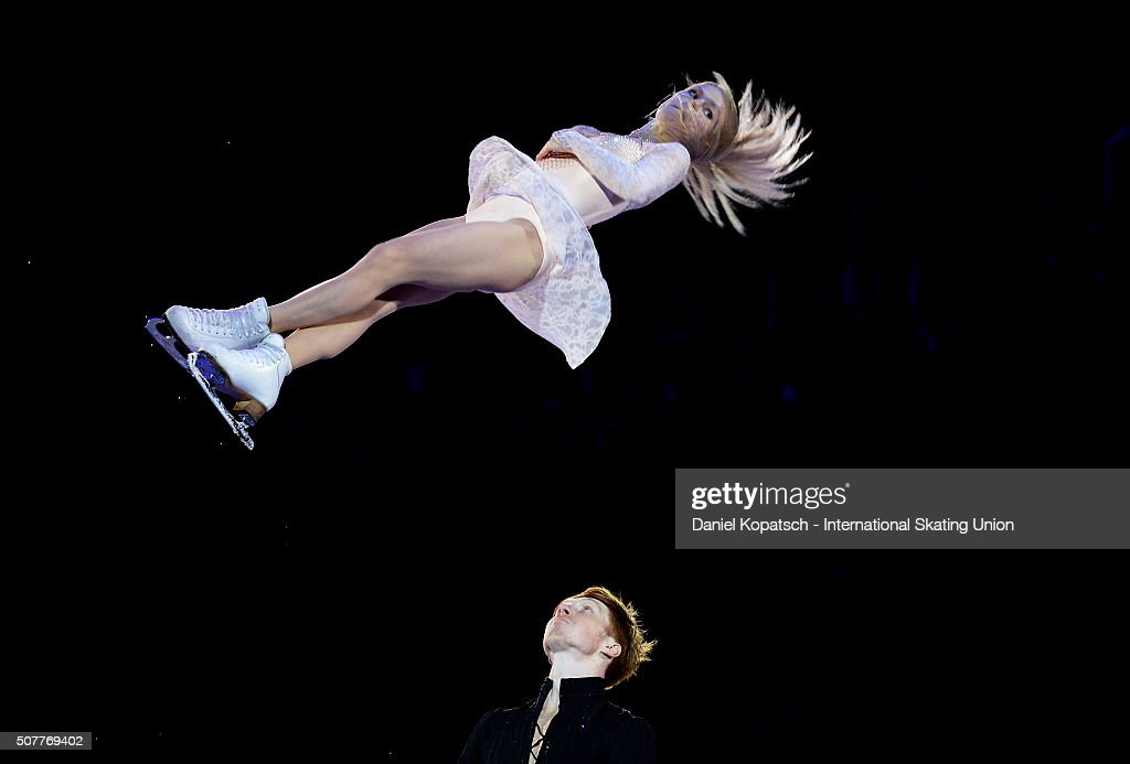Evgenia Tarasova and <a gi-track='captionPersonalityLinkClicked' href=/galleries/search?phrase=Vladimir+Morozov&family=editorial&specificpeople=6614710 ng-click='$event.stopPropagation()'>Vladimir Morozov</a> of Russia perform during the Gala Exhibition during day five of the ISU European Figure Skating Championships 2016 on January 31, 2016 in Bratislava, Slovakia.