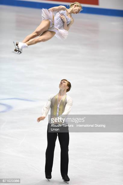 Evgenia Tarasova and Vladmir Morozov of Russia compete in the Pairs short program during the 2nd day of the ISU World Team Trophy 2017 on April 21...