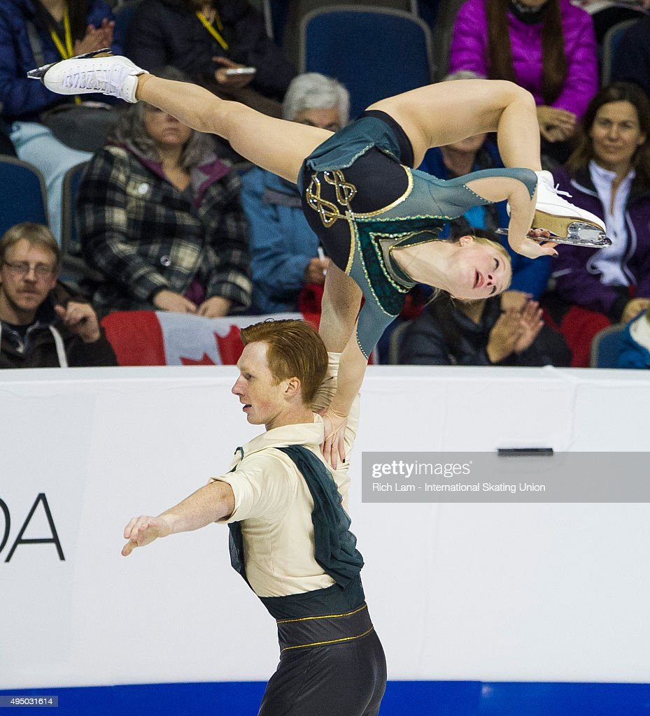 Evgenia Tarasova of Russia is lifted by her partner <a gi-track='captionPersonalityLinkClicked' href=/galleries/search?phrase=Vladimir+Morozov&family=editorial&specificpeople=6614710 ng-click='$event.stopPropagation()'>Vladimir Morozov</a> during the Pair's Short Program on day one of Skate Canada International ISU Grand Prix of Figure Skating, October, 30, 2015 at ENMAX Centre in Lethbridge, Alberta, Canada.