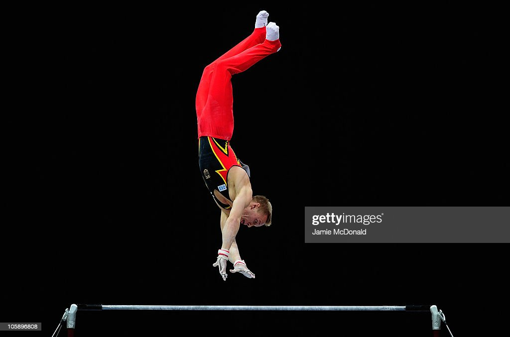 Evgenij Spiridonov Of Germany Competes On The High Bar During Mens Team Final At