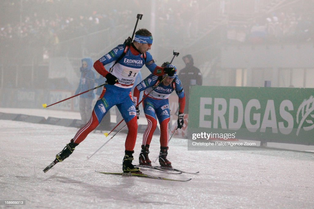 Evgeniy Garanichev of Russia, Anton Shipulin of Russia takes 1st place competes during the IBU Biathlon World Cup Men's Relay on January 04, 2013 in Oberhof, Germany.