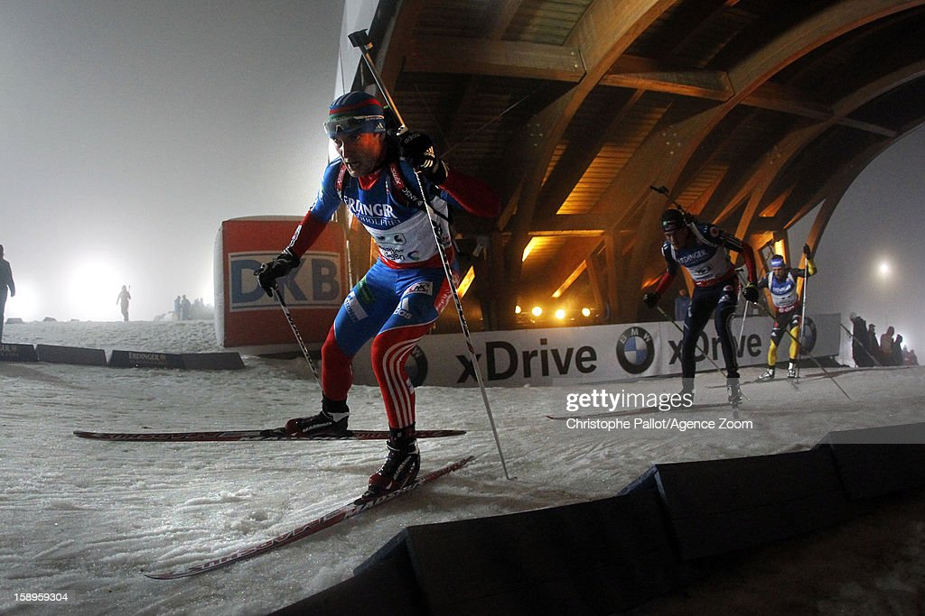 Evgeniy Garanichev of Russia takes 1st place during the IBU Biathlon World Cup Men's Relay on January 04, 2013 in Oberhof, Germany.