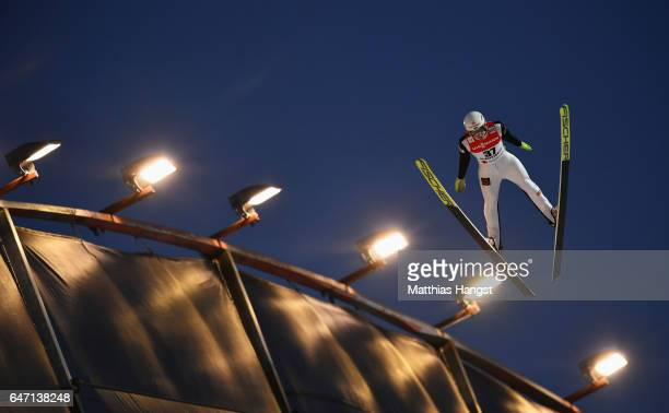 Evgeniy Klimov of Russia competes during the Men's Ski Jumping HS130 at the FIS Nordic World Ski Championships on March 2 2017 in Lahti Finland