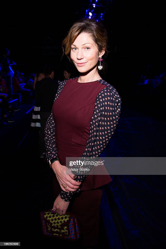 Evgeniya Linovich attends the Muscovites by Mashsa Kravtsova show of Mercedes-Benz Fashion Week S/S 14 on October 29, 2013 in Moscow, Russia.