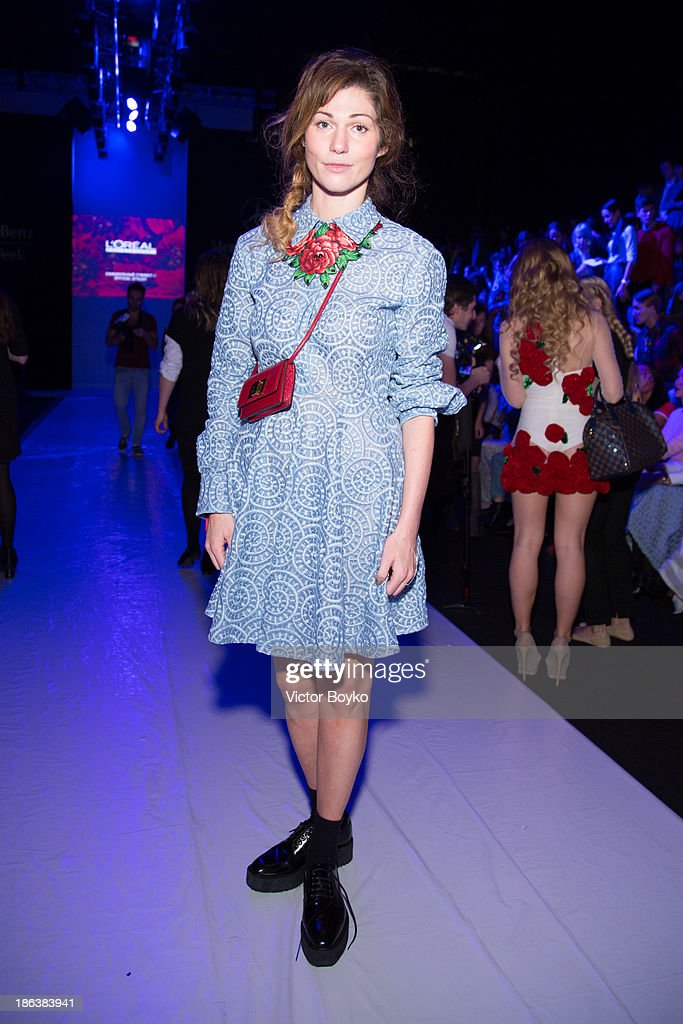 Evgeniya Linovich attends the Ruban show on day 6 of Mercedes-Benz Fashion Week S/S 14 on October 30, 2013 in Moscow, Russia.