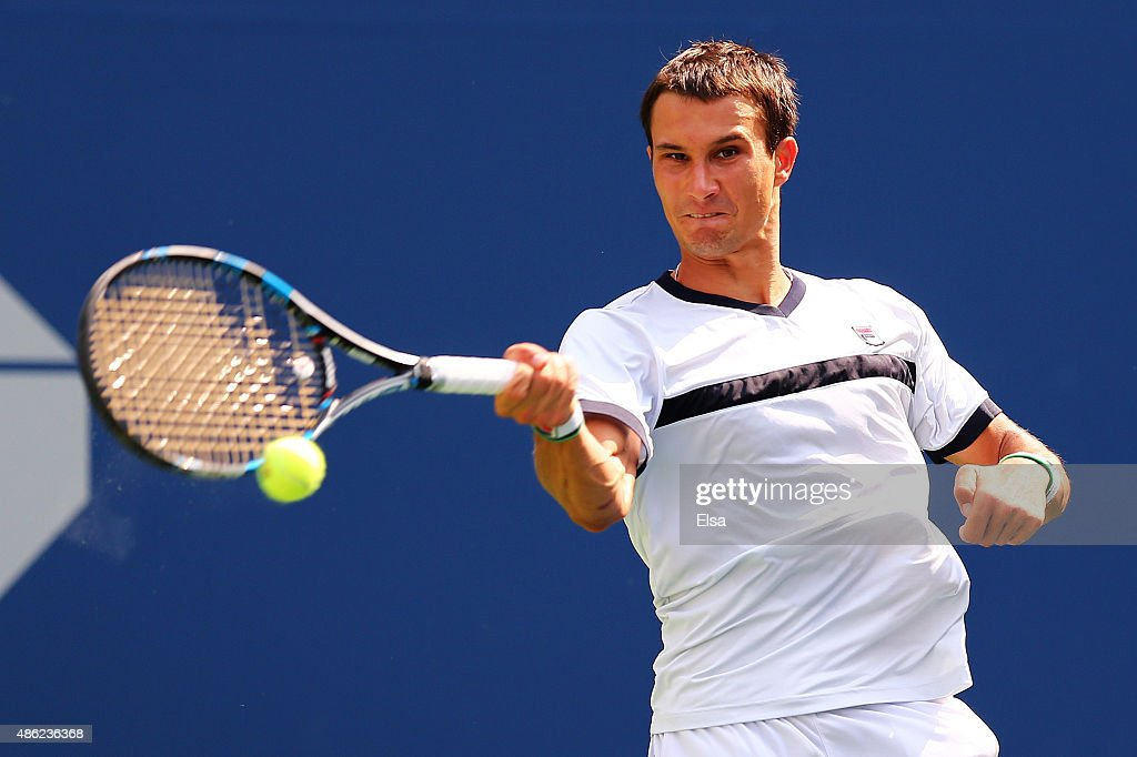 <a gi-track='captionPersonalityLinkClicked' href=/galleries/search?phrase=Evgeny+Donskoy&family=editorial&specificpeople=5368047 ng-click='$event.stopPropagation()'>Evgeny Donskoy</a> of Russia returns a shot during his Men's Singles Second Round match against Marin Cilic of Croatia on Day Three of the 2015 US Open at the USTA Billie Jean King National Tennis Center on September 2, 2015 in the Flushing neighborhood of the Queens borough of New York City.
