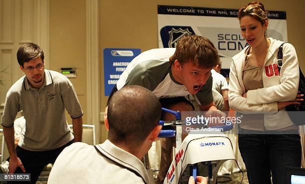 Evgeny Grachev of Russia works out on the second day of the 2008 NHL Combine event at the Westin Bristol Place on May 31 2008 in Toronto Ontario