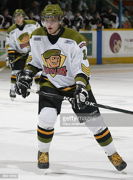 Evgeny Grachev of the Brampton Battalion skates in the 3rd game of the opening round eastern conference series against the Peterborough Petes on...