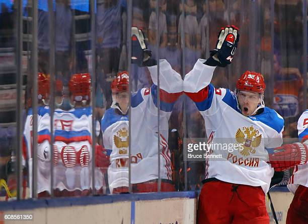 Evgeny Kuznetsov of Team Russia celebrates his second period goal against Team North America during the World Cup of Hockey tournament at the Air...