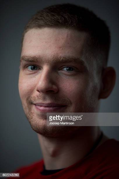 Evgeny Kuznetsov of Team Russia poses for a photo after Team Russia training prior to World Cup Of Hockey 2016 session at Yubileyny Sports Palace on...