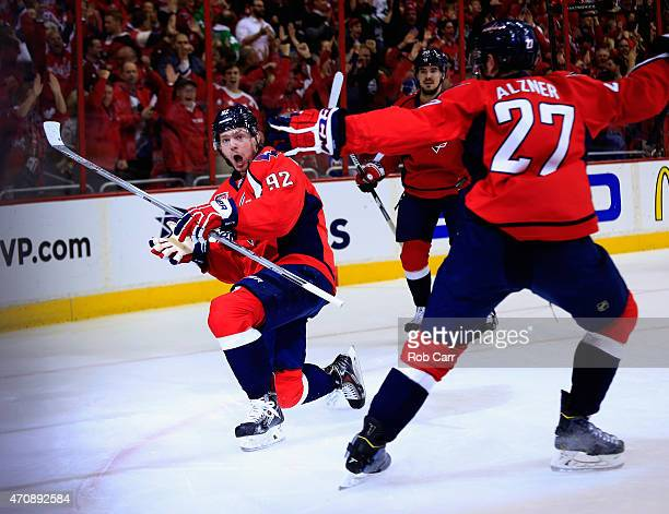 Evgeny Kuznetsov of the Washington Capitals celebrates after scoring a first period goal against the New York Islanders in Game Five of the Eastern...