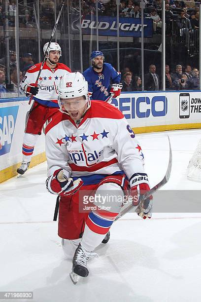 Evgeny Kuznetsov of the Washington Capitals celebrates after scoring a goal in the second period against the New York Rangers in Game Two of the...