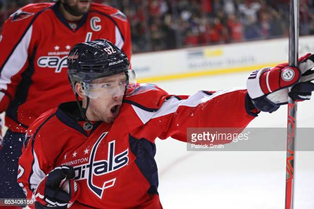Evgeny Kuznetsov of the Washington Capitals celebrates after scoring a goal against the Minnesota Wild during the second period at Verizon Center on...