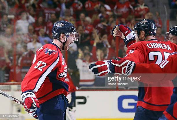 Evgeny Kuznetsov of the Washington Capitals celebrates his game winning goal at 1242 of the third period against the New York Islanders in Game Seven...