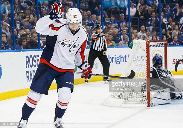 Evgeny Kuznetsov of the Washington Capitals celebrates his goal against goalie Ben Bishop of the Tampa Bay Lightning during second period at the...