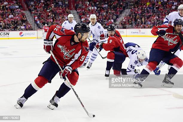 Evgeny Kuznetsov of the Washington Capitals controls the puck in the first period against the Toronto Maple Leafs during an NHL game at Verizon...