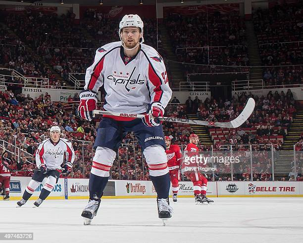 Evgeny Kuznetsov of the Washington Capitals follows the play during an NHL game against the Detroit Red Wings at Joe Louis Arena on November 10 2015...