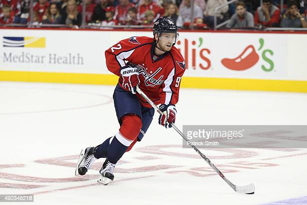 Evgeny Kuznetsov of the Washington Capitals in action against the New Jersey Devils at Verizon Center on October 10 2015 in Washington DC The...