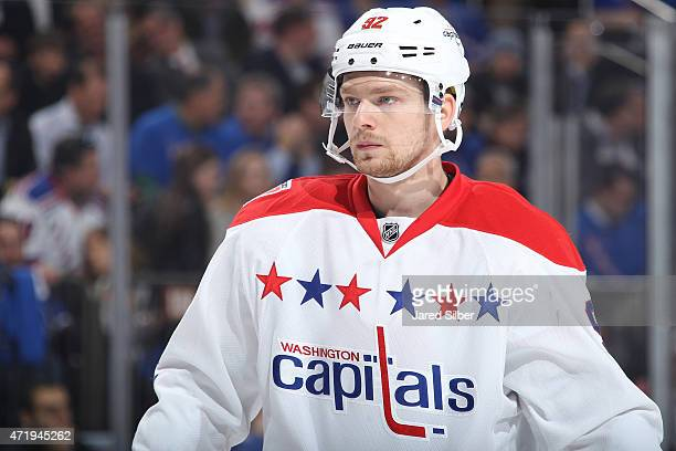 Evgeny Kuznetsov of the Washington Capitals looks on during a break in the action against the New York Rangers in Game One of the Eastern Conference...