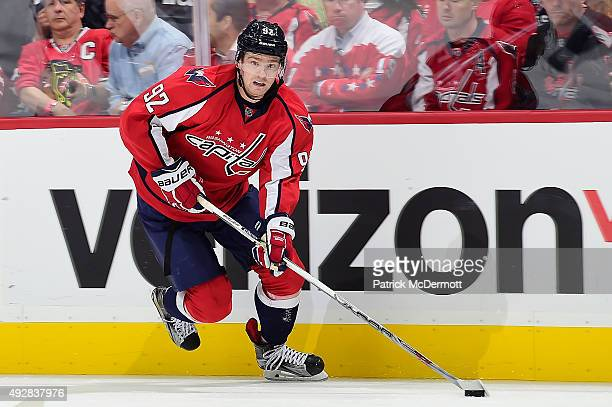 Evgeny Kuznetsov of the Washington Capitals moves the puck up ice in the third period against the Chicago Blackhawks during an NHL game at Verizon...
