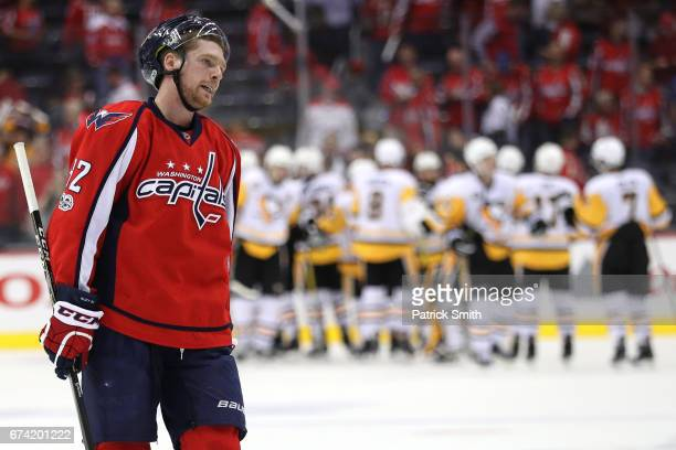 Evgeny Kuznetsov of the Washington Capitals reacts after losing to the Pittsburgh Penguins in Game One of the Eastern Conference Second Round during...