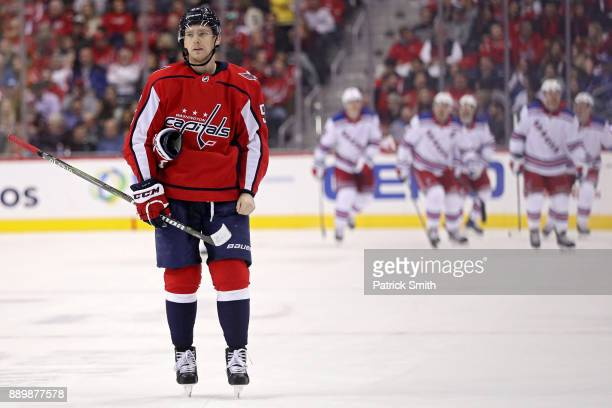 Evgeny Kuznetsov of the Washington Capitals reacts after Michael Grabner of the New York Rangers scored a goal during the second period at Capital...
