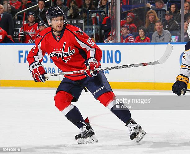 Evgeny Kuznetsov of the Washington Capitals skates against the Buffalo Sabres during an NHL game on January 16 2016 at the First Niagara Center in...