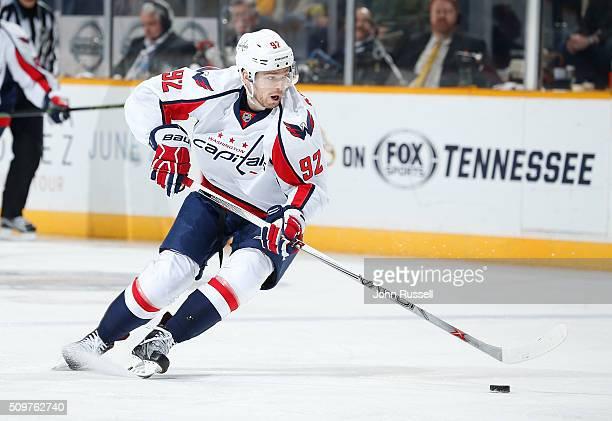 Evgeny Kuznetsov of the Washington Capitals skates against the Nashville Predators during an NHL game at Bridgestone Arena on February 9 2016 in...