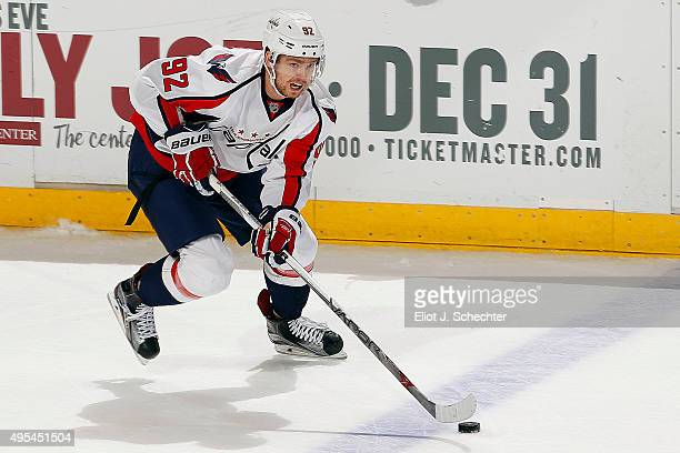 Evgeny Kuznetsov of the Washington Capitals skates with the puck against the Florida Panthers at the BBT Center on October 31 2015 in Sunrise Florida
