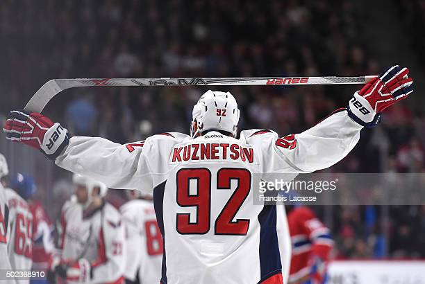 Evgeny Kuznetsov of the Washington Capitals stretches during the NHL game against the Montreal Canadiens in the NHL game at the Bell Centre on...