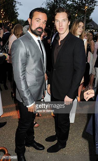 Evgeny Lebedev and Benedict Cumberbatch attend The Serpentine Gallery Summer Party sponsored by Leon Max at The Serpentine Gallery on June 26 2012 in...