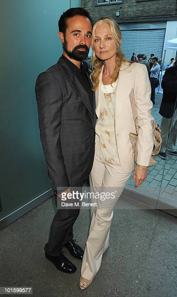 Evgeny Lebedev and Joely Richardson attend the private view of 'Antony Gormley Test Sites' at the White Cube Gallery on June 3 2010 in London England